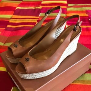 Coach Shoes - New Coach Brown Leather Wedges